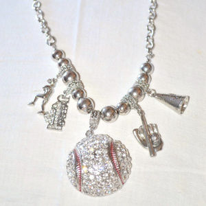 Jewelry - Large Rhinestone Baseball Necklace with Charms